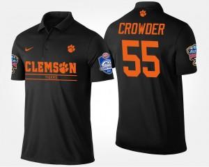 #55 Tyrone Crowder Clemson Tigers Atlantic Coast Conference Sugar Bowl Bowl Game Mens Polo - Black