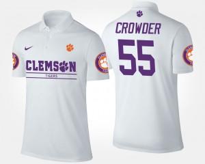 #55 Tyrone Crowder Clemson Tigers Men Polo - White