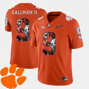 #9 Wayne Gallman II Clemson Tigers For Men Football Pictorial Fashion Jersey - Orange