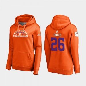 #26 Adam Choice Clemson Tigers Women 2018 National Champions College Football Playoff Pylon Hoodie - Orange