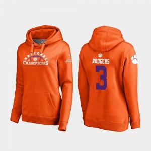 #3 Amari Rodgers Clemson Tigers For Women 2018 National Champions College Football Playoff Pylon Hoodie - Orange