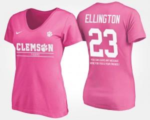 #23 Andre Ellington Clemson Tigers Women's With Message T-Shirt - Pink