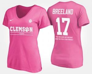 #17 Bashaud Breeland Clemson Tigers With Message Women T-Shirt - Pink