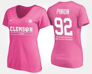 #92 Bradley Pinion Clemson Tigers Women's With Message T-Shirt - Pink
