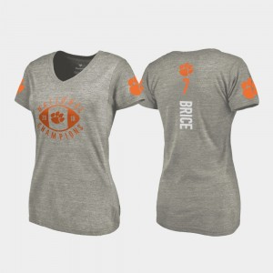 #7 Chase Brice Clemson Tigers For Women College Football Playoff V-Neck 2018 National Champions T-Shirt - Gray
