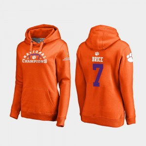 #7 Chase Brice Clemson Tigers 2018 National Champions College Football Playoff Pylon Ladies Hoodie - Orange