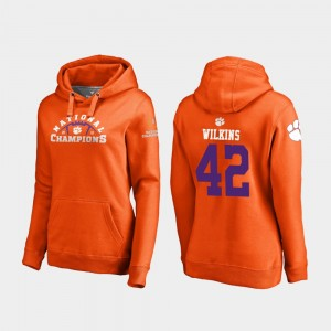 #42 Christian Wilkins Clemson Tigers Women College Football Playoff Pylon 2018 National Champions Hoodie - Orange