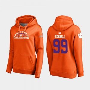 #99 Clelin Ferrell Clemson Tigers College Football Playoff Pylon 2018 National Champions Women Hoodie - Orange