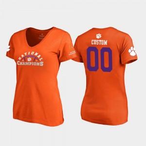 #00 Clemson Tigers For Women's Pylon V-Neck 2018 National Champions Custom T-Shirts - Orange