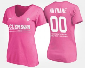 #00 Clemson Tigers Women With Message Custom T-Shirts - Pink