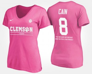 #8 Deon Cain Clemson Tigers Womens With Message T-Shirt - Pink