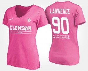 #90 Dexter Lawrence Clemson Tigers With Message Ladies T-Shirt - Pink