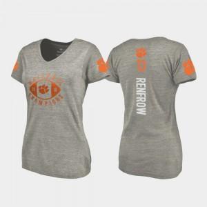 #13 Hunter Renfrow Clemson Tigers Women 2018 National Champions College Football Playoff V-Neck T-Shirt - Gray