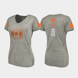 #8 Justyn Ross Clemson Tigers For Women College Football Playoff V-Neck 2018 National Champions T-Shirt - Gray