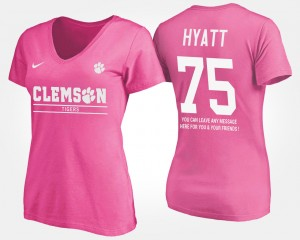 #75 Mitch Hyatt Clemson Tigers Womens With Message T-Shirt - Pink