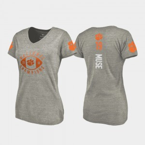 #19 Tanner Muse Clemson Tigers College Football Playoff V-Neck 2018 National Champions Ladies T-Shirt - Gray