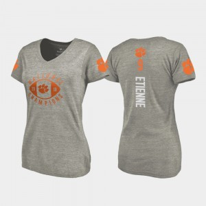 #9 Travis Etienne Clemson Tigers 2018 National Champions For Women's College Football Playoff V-Neck T-Shirt - Gray