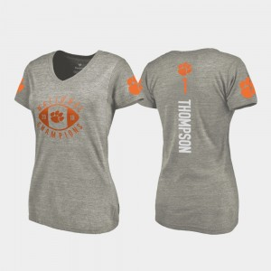 #1 Trevion Thompson Clemson Tigers College Football Playoff V-Neck 2018 National Champions Women's T-Shirt - Gray