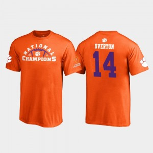 #14 Diondre Overton Clemson Tigers Pylon 2018 National Champions Youth(Kids) T-Shirt - Orange